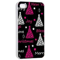 New Year Pattern   Magenta Apple Iphone 4/4s Seamless Case (white) by Valentinaart
