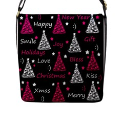 New Year Pattern   Magenta Flap Messenger Bag (l)  by Valentinaart