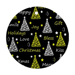 New Year Pattern   Yellow Ornament (round)  by Valentinaart