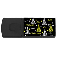 New Year Pattern   Yellow Usb Flash Drive Rectangular (4 Gb)  by Valentinaart