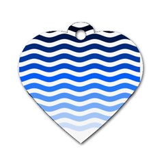 Water White Blue Line Dog Tag Heart (one Side) by AnjaniArt