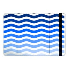 Water White Blue Line Samsung Galaxy Tab Pro 10 1  Flip Case by AnjaniArt