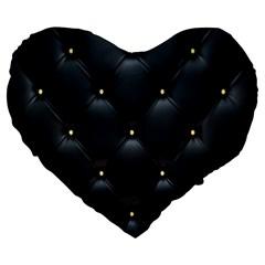 Black Skin Large 19  Premium Flano Heart Shape Cushions by AnjaniArt