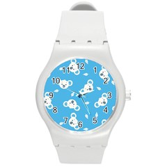 Blue Koala Round Plastic Sport Watch (m) by AnjaniArt