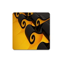 Black Yellow Square Magnet