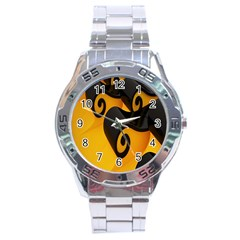 Black Yellow Stainless Steel Analogue Watch by AnjaniArt