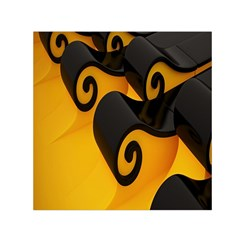 Black Yellow Small Satin Scarf (square) by AnjaniArt