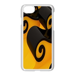 Black Yellow Apple iPhone 7 Seamless Case (White) by AnjaniArt