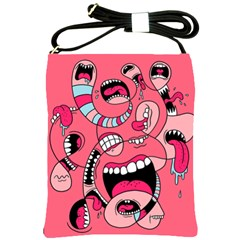 Big Mouth Worm Shoulder Sling Bags by AnjaniArt