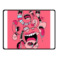 Big Mouth Worm Double Sided Fleece Blanket (Small)  by AnjaniArt
