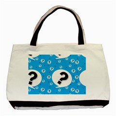 Blue Question Mark Basic Tote Bag by AnjaniArt