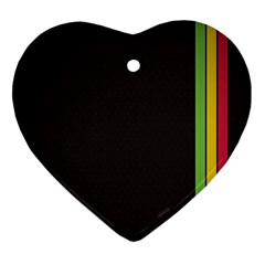 Brown White Stripes Green Yellow Pink Ornament (heart)  by AnjaniArt