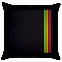 Brown White Stripes Green Yellow Pink Throw Pillow Case (black) by AnjaniArt