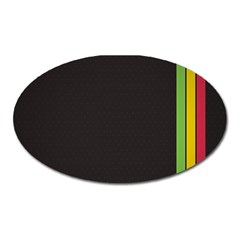 Brown White Stripes Green Yellow Pink Oval Magnet by AnjaniArt