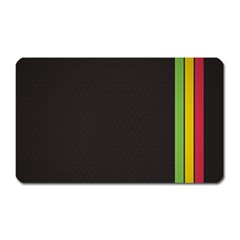 Brown White Stripes Green Yellow Pink Magnet (rectangular) by AnjaniArt