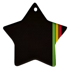 Brown White Stripes Green Yellow Pink Star Ornament (two Sides)  by AnjaniArt