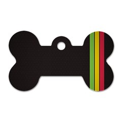 Brown White Stripes Green Yellow Pink Dog Tag Bone (two Sides) by AnjaniArt