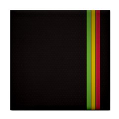 Brown White Stripes Green Yellow Pink Face Towel by AnjaniArt