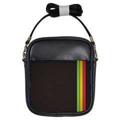 Brown White Stripes Green Yellow Pink Girls Sling Bags by AnjaniArt
