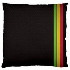 Brown White Stripes Green Yellow Pink Large Cushion Case (one Side) by AnjaniArt