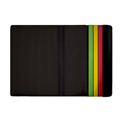 Brown White Stripes Green Yellow Pink Apple Ipad Mini Flip Case by AnjaniArt