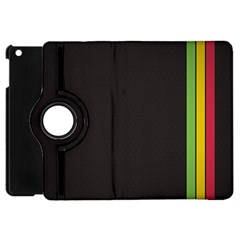 Brown White Stripes Green Yellow Pink Apple Ipad Mini Flip 360 Case by AnjaniArt