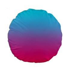Blue Pink Purple Standard 15  Premium Round Cushions by AnjaniArt
