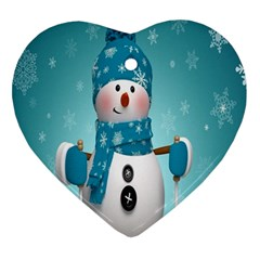 Cute Snowman Heart Ornament (2 Sides) by AnjaniArt