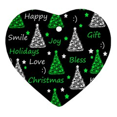 New Year Pattern   Green Ornament (heart)  by Valentinaart