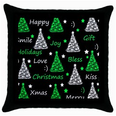 New Year Pattern   Green Throw Pillow Case (black) by Valentinaart
