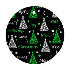 New Year Pattern   Green Round Ornament (two Sides)  by Valentinaart