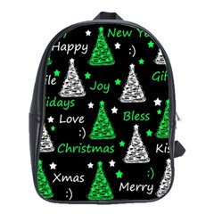 New Year Pattern   Green School Bags(large)  by Valentinaart