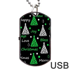 New Year Pattern   Green Dog Tag Usb Flash (one Side) by Valentinaart