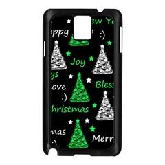 New Year Pattern   Green Samsung Galaxy Note 3 N9005 Case (black) by Valentinaart