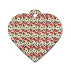 Gorgeous Red Flower Pattern  Dog Tag Heart (Two Sides) by Brittlevirginclothing