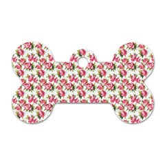 Gorgeous Pink Flower Pattern Dog Tag Bone (one Side) by Brittlevirginclothing