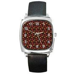 Exotic Colorful Flower Pattern  Square Metal Watch by Brittlevirginclothing