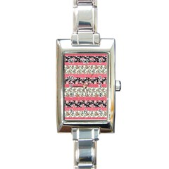 Cute Flower Pattern Rectangle Italian Charm Watch by Brittlevirginclothing