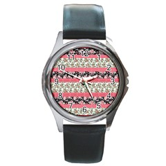 Cute Flower Pattern Round Metal Watch by Brittlevirginclothing