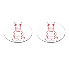 Cute Rabbit With I M So Cute Text Banner Cufflinks (oval) by dflcprints