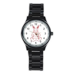 Cute Rabbit With I M So Cute Text Banner Stainless Steel Round Watch by dflcprints