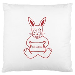 Cute Rabbit With I M So Cute Text Banner Large Flano Cushion Case (one Side) by dflcprints