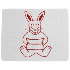 Cute Rabbit With I M So Cute Text Banner Jigsaw Puzzle Photo Stand (rectangular) by dflcprints