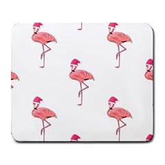 Flamingos Pink Santa Claus Tropical Coastal Christmas Large Mousepads