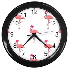 Flamingos Pink Santa Claus Tropical Coastal Christmas Wall Clocks (black) by CrypticFragmentsColors