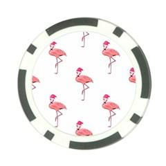 Flamingos Pink Santa Claus Tropical Coastal Christmas Poker Chip Card Guards