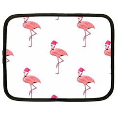Flamingos Pink Santa Claus Tropical Coastal Christmas Netbook Case (xxl)  by CrypticFragmentsColors