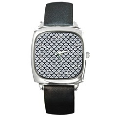 Scales1 Black Marble & Gray Marble (r) Square Metal Watch by trendistuff