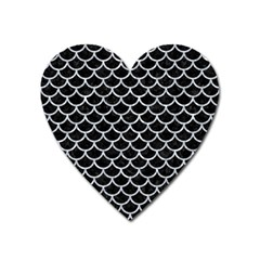 Scales1 Black Marble & Gray Marble Magnet (heart) by trendistuff