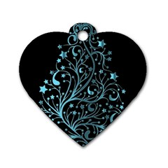 Elegant Blue Christmas Tree Black Background Dog Tag Heart (two Sides) by yoursparklingshop